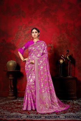 Dark hot pink woven silk blend saree with blouse