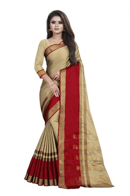 Beige plain cotton silk saree with blouse