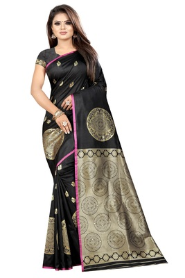 Black printed cotton silk saree with blouse