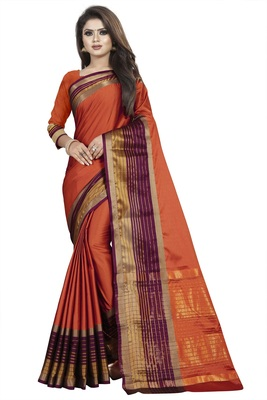 Brown plain cotton silk saree with blouse