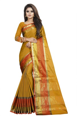 Mustard plain cotton silk saree with blouse