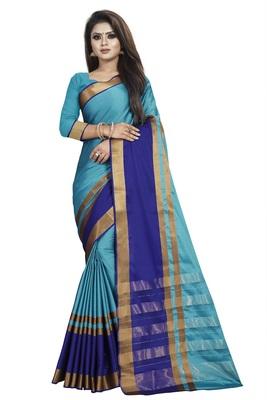 Sky blue plain cotton silk saree with blouse