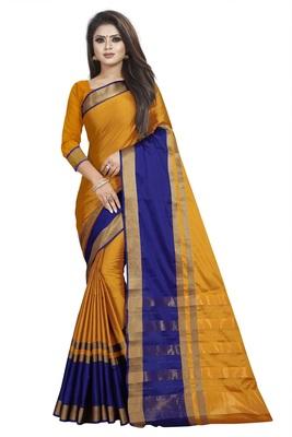 Mustard plain cotton silk saree with blouse