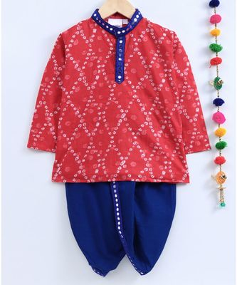 red kurta with blue dhoti and mirror lace