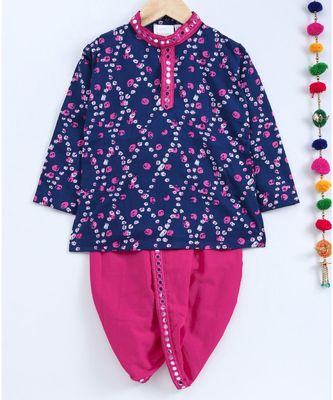 Blue Kurta And Pink Dhoti With Mirror Work Lace