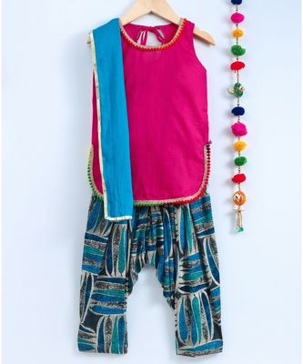 Blue Semi Patiala Salwar With Pink Top And Blue Contrast Dupatta