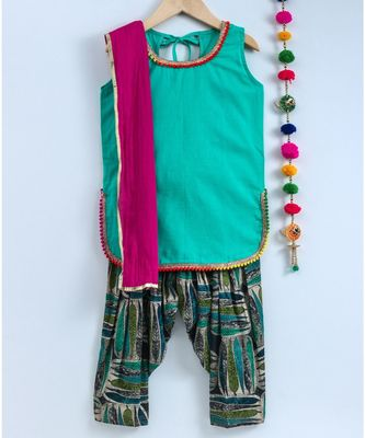 green semi patiala salwar with green top and pink dupatta