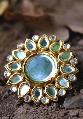 Gold Plated Kundan Mirror Work Ring