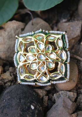 Gold Plated Kundan Polki Ring