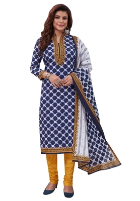 Blue Printed crepe unstitched sawlar with dupatta