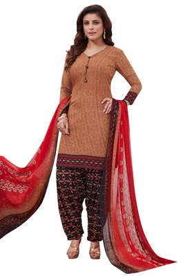Brown Printed crepe unstitched sawlar with dupatta