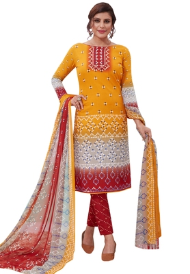 Yellow Printed crepe unstitched sawlar with dupatta