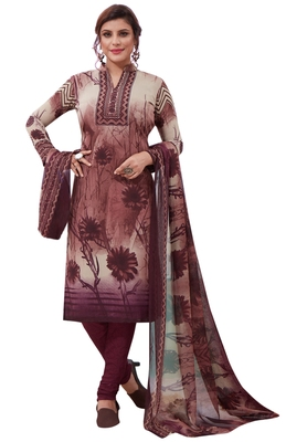 Wine Printed Crepe Unstitched Sawlar With Dupatta