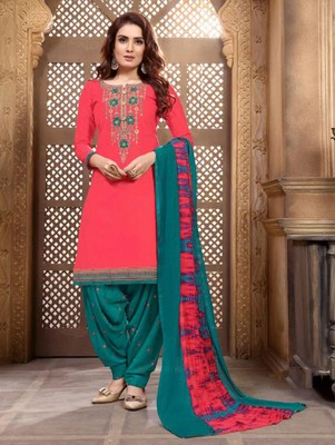 Dark Pink Heavy Embroidery Patiala Suit