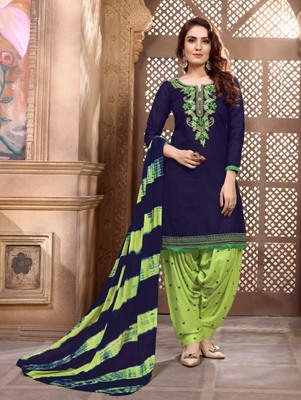 Dark Blue Heavy Embroidery Patiala Suit