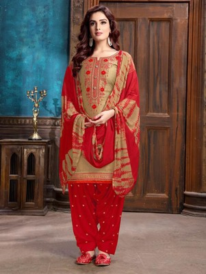 Light Brown Heavy Embroidery Patiala Suit
