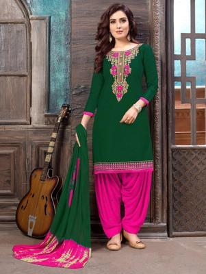 Dark Green Heavy Embroidery Patiala Suit