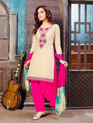 Light Beige Heavy Embroidery Patiala Suit