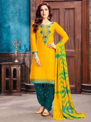 Yellow Heavy Embroidery Patiala Suit