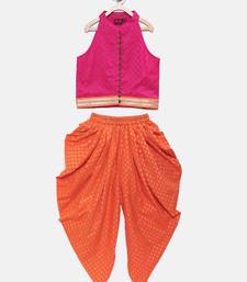 Purple printed jaquard top with dhoti for girls
