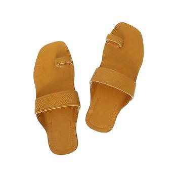 Dark Yellow Womens Leather Chappal