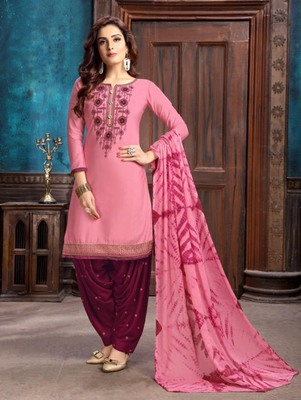 Pink Heavy Embroidery Patiala Suit