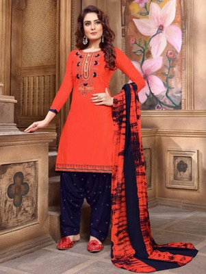 Salmon Color Heavy Embroidery Patiala Suit