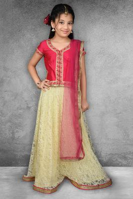 Beige Pink Embroidered  Net Lehenga Choli Dupatta
