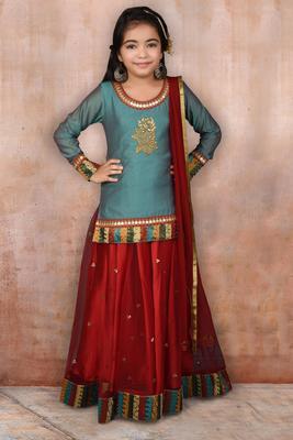 Green Embroidered Chanderi Silk Lehenga Choli Dupatta