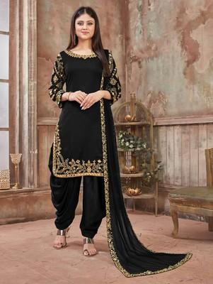 Black Art Silk Patiala Suit