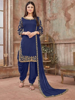 Dark Blue Art Silk Patiala Suit