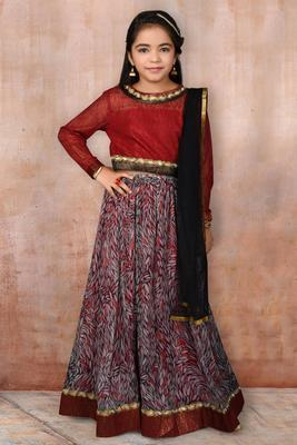 multicolor Embroidered Chanderi Silk Lehenga Choli Dupatta