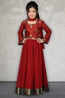 maroon Embroidered Chanderi Silk Lehenga Choli Dupatta
