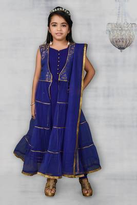 blue woven net stitched kids salwar suits