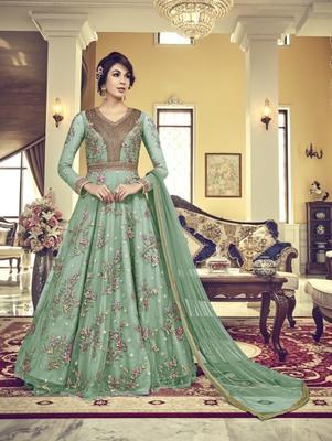 Sea Green Vaishnavi Net Embroidered Anarkali Suit