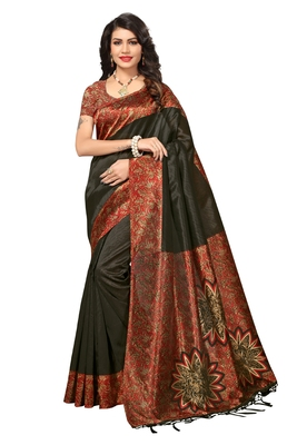Brown printed art silk saree with blouse