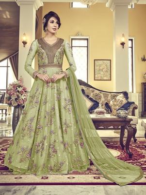 Mehendi Green Vaishnavi Net Embroidered Anarkali Suit