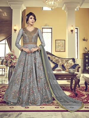 Light Grey Vaishnavi Net Embroidered Anarkali Suit