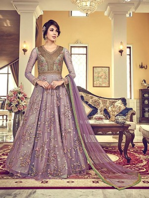 Lavender Vaishnavi Net Embroidered Anarkali Suit