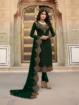 Dark Green Faux Georgette Designer Straight Suit