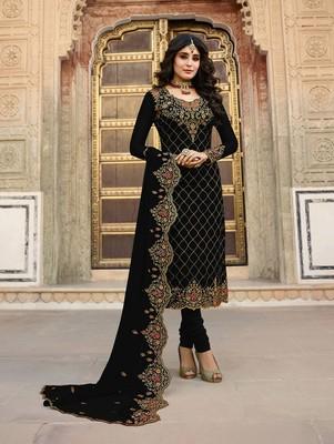 Black Faux Georgette Designer Straight Suit
