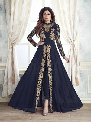 Dark Blue Faux Georgette Designer Suit