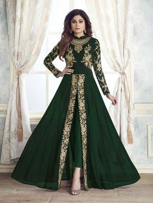 Dark Green Faux Georgette Designer Straight Suit