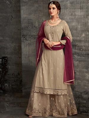 Light Brown Faux Georgette Designer Sharara Suit