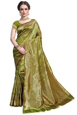 Mehendi woven printed saree with blouse
