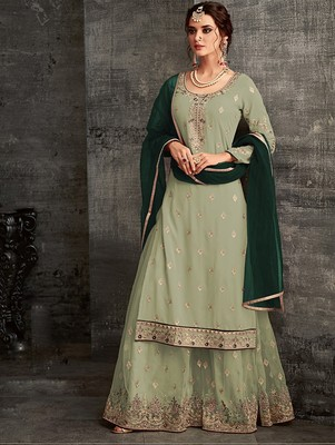 Olive Green Faux Georgette Designer Sharara Suit