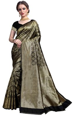 Black woven printed saree with blouse