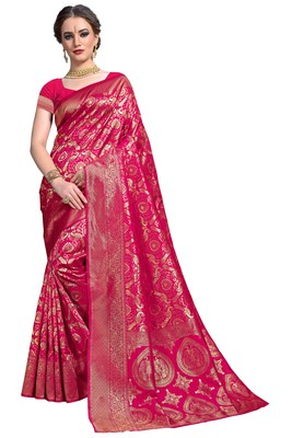 Pink woven printed saree with blouse