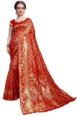 Red woven printed saree with blouse