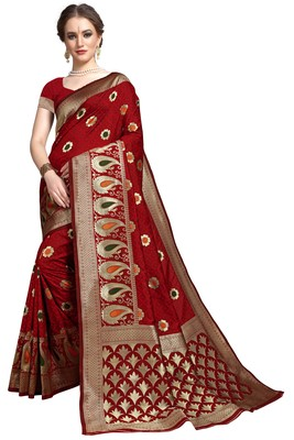 Maroon woven printed saree with blouse
